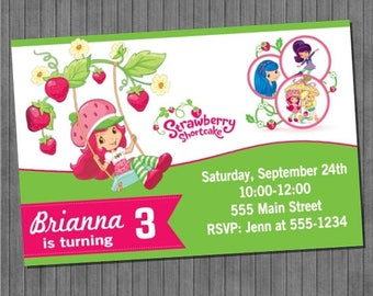 FLASH SALE Strawberry Shortcake Party Invitation