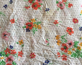 Vintage Floral and Polka Dot Twin Flat Sheet