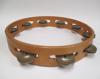 "Vintage Wood Tambourine 10"" in Diameter, Wooden Tamborine Band Musical Instrument"