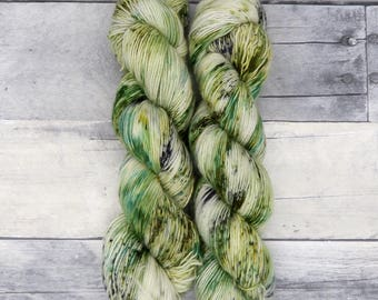 Cunning (Simple Sock, variegated blend) - speckled greens and grey