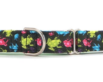 Neon Frogs Dog Collar (Martingale, Buckle or Tag)