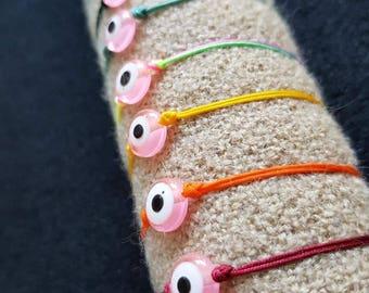 Pink Evil Eye bracelet.Colorful nylon thread/Acrylic/Protective/gr.talisman/good luck/girl/minimal/simple/popular/macrame/adjustable.