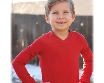 Everett V-Neck Knit Shirt, PDF Pattern, Children Sizes 2t-12, Boy clothes, unisex pattern, gender neutral shirt, knit shirt, boys knit shirt