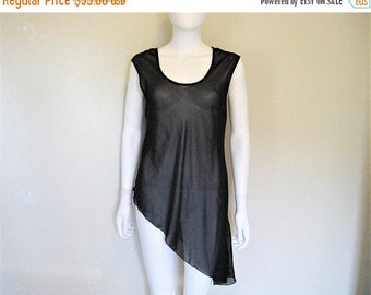 25% off SALE Sheer Black Asymmetrical Pullover Top / layering piece - Large