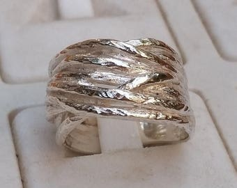 SALE Stackable Silver Ring, Silver Wedding Band, Sterling Silver Ring, Handmade Silver Ring, Statement Ring, Bridal Silver Ring, Unique Text