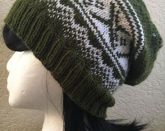 Nordic Night Slouchy Beanie | Fair Isle Norwegian Beanie | Slouchy Norwegian Style Knit Hat | Multiple Colors Available!