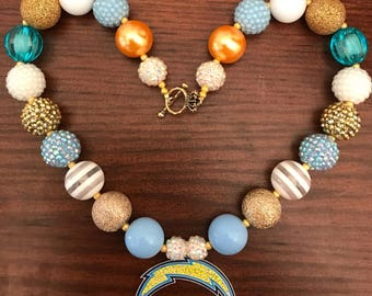 San Diego Chargers Classic Colors Football Chunky Bubble Gum Necklace (Adult/Teen)