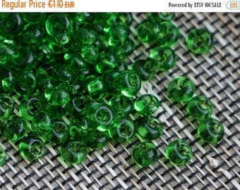 ON SALE -15% Czech Drops seed beads 08/0 20g Transparent Chrysolite Green Preciosa Ornela Drops Rocaille size 8
