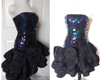 Vintage 80s Sequin Strapless Origami Prom Dress - size XS Small Extra Small