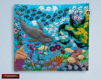 "Wall hanging quilt 17.7""H - Applique Design Sea Marine Life - Peruvian Arpillera (Patchwork) - 3d wall art - Embroidered appliques of fabric"