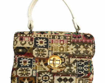 Tapestry Handbag Signed Alma Ide Carpetbag Purse