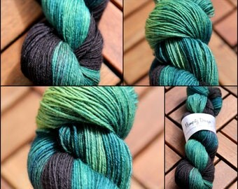 Hand dyed sock yarn Merino nylon blend superwash, The green grass of home
