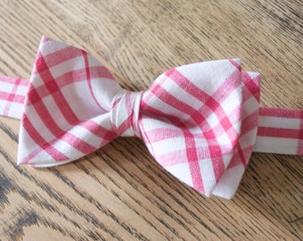 boys bow ties,bow ties for kids,clip on bow tie,bowties with strap,pink plaid bow tie