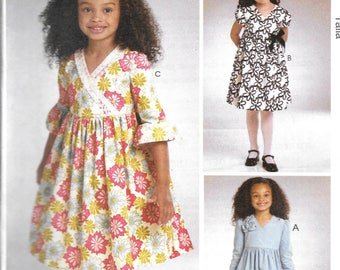 Easy McCall's Sew Crafty Pattern 5966 DRESSES Girls' Sizes 6 7 8