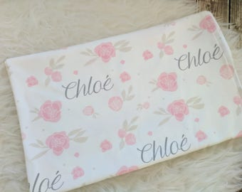 Personalized baby name pink floral swaddle blanket: baby and toddler personalized name newborn hospital gift baby shower gift