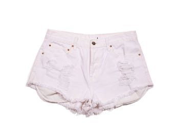 Women's White Cut Off Shorts