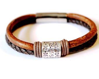 Mens bracelet, Fathers Day, Bracelet, Leather Bracelet, Mens leather bracelet, Father Day Gift, Mens Personalised Bracelet, gift for dads