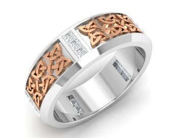 Men Engagement Ring, 14K White/Rose/Yellow Gold, Princess Cut Diamond Men Ring, Men Anniversary Ring, Men Wedding Ring, Two Tone Men Band