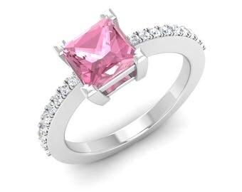 Natural Pink Tourmaline Ring, Pink Tourmaline Engagement Ring,14K White Gold, Princess Cut, Wedding Ring, Pink Tourmaline Rings,Diamond Ring