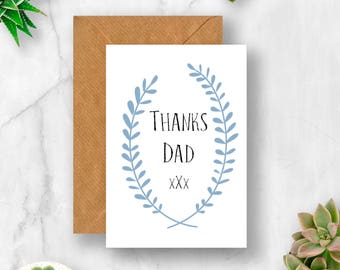 Thanks Dad Card, Card for Dad, Father Card, Father's Day Card, Thank You Card, Dad Birthday Card, Father Card