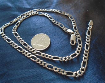 """Figaro Chain 4mm & 10.3g Sterling Silver Necklace (18"""")"""