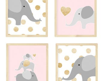 Pink and gold nursery, Pink and gold baby shower, Soft pink and gold nursery, Nursery Quad, Elephant Nursery Art, Set of 4 8X10, pink, gold