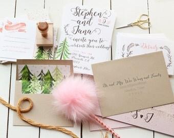 Rustic Wedding Invitation, Tree Wedding Invitation, Wedding Invites, Printable Invitation, Summer Wedding Invitation Pink Wedding Invitation