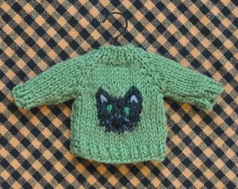 Black Cat Hand-Knit Sweater Ornament  Halloween Ornament