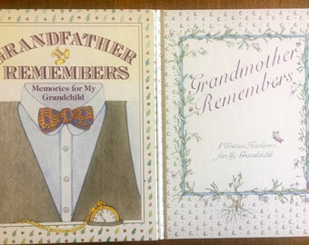 New Grandmother Remembers & Grandfather Remembers - Heirloom Books for Grandchildren - Set of 2 Books
