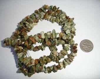 Rhyolite chip strand 35 strand 35 inch gemstone strand long gemstone strand green gemstone strand long strand gems chip strand rhyolite