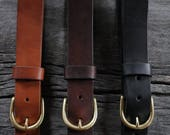 "handmade 1.25"" LEATHER BELT. BRASS buckle. vegetable tanned. handmade. genuine leather belt. men's leather belt. women's leather belt."