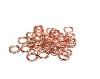 50 x simple jump rings 4mm ROSE gold goldenrose