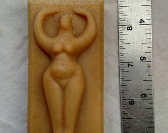 "Goddess molded bar ""Lemongrass"" goat milk soap."