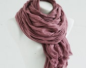 Linen Scarf Extra Long / Natural Linen Shawl / Hand Dyed Scarves / Fashion Accessories / Flax Beach Scarf / Gifts Idea / For Him/ Head Wrap.