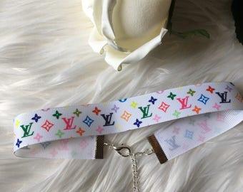 White Rainbow Monogram LV Louis Vuitton Ribbon Choker