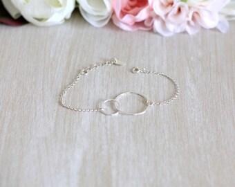 Bracelet 2 adjustable 925 sterling silver circles
