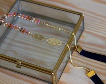 Gold medallions headband elastic