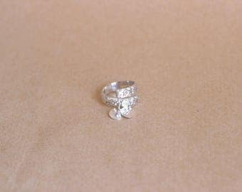 Romantic flower silver ring