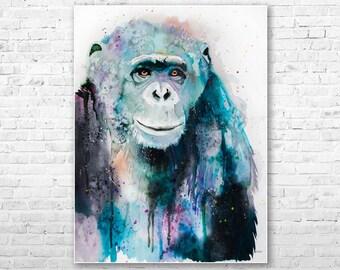 Original Watercolour Painting- Chimp Chimpanzee 3 art, animal illustration, animal watercolor, animals paintings, animals, portrait,