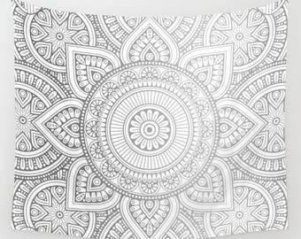 Silver Mandala Wall Tapestry, Bohemian Wall Tapestry, Mandala Curtain, Boho Wall Hanging, Silver Mandala Curtain, Bohemian Mandala Tapestry
