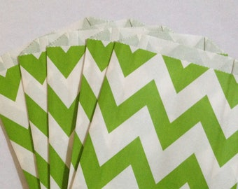 CLEARANCE! Set of 12 - Paper Bags with Lime Green Chevron Design