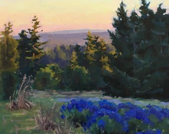 Lavender Evening - Original contemporary Landscape painting - Oil Painting