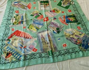 """Vintage Silk Hand Screen-Printed in Switzerland - Sights of Switzerland Silk Scarf 34"""" x 34"""""""