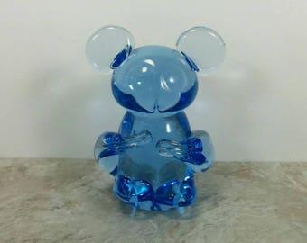 Vintage Panda Bear Blue Glass Hand Blown Figurine - Panda Bear Gift - Blue Lead Crystal Glass Gift