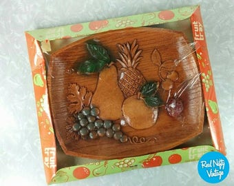 Vintage Fruit Tray - Retro Serving Tray - New Old Stock from 1970's - Fruit Kitchen, Pears, Grapes, Orange