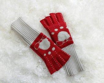 Vintage Gloves, Fingerless Gloves, Red Gloves, Vintage Red Gloves, Red & Gray Gloves, Bow Print Gloves, Polka Dot Gloves, Extra Long Gloves