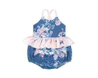 Dala Blue Floral Skirted Bubble Romper