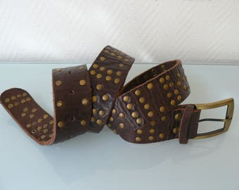 Old brown leather unisex belt
