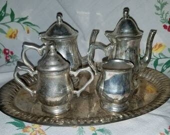 Vintage Real Silver Plate Childs Tea and Coffee Set 5 piece