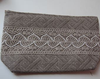 Linen Cosmetic Bag with Fine, Beautiful Linen Lace